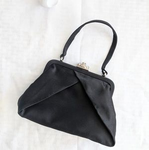 Jessica McClintock Black Satin Purse